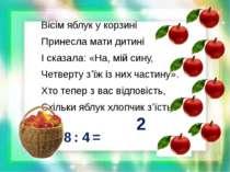 Вісім яблук у корзині Принесла мати дитині І сказала: «На, мій сину, Четверту...