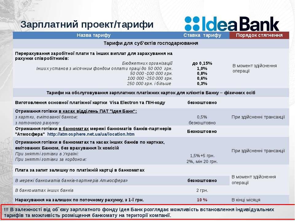 Зарплатний проект/тарифи !!! В залежності від об`єму зарплатного фонду Ідея Б...