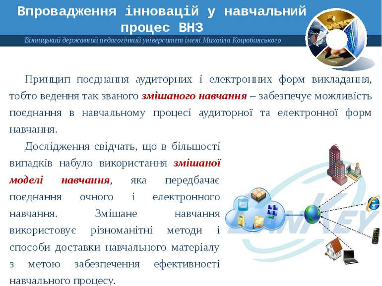 Впровадження інновацій у навчальний процес ВНЗ Принцип поєднання аудиторних і...