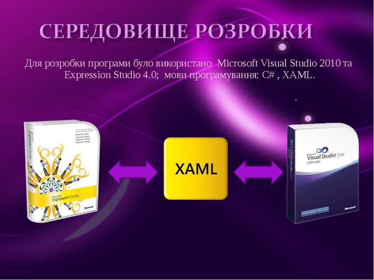 Для розробки програми було використано Microsoft Visual Studio 2010 та Expres...