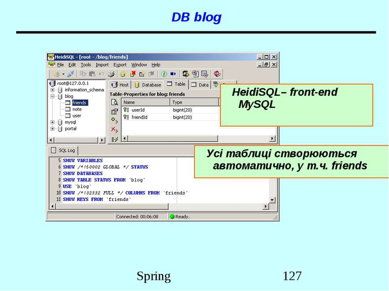 DB blog HeidiSQL– front-end MySQL Усі таблиці створюються автоматично, у т.ч....