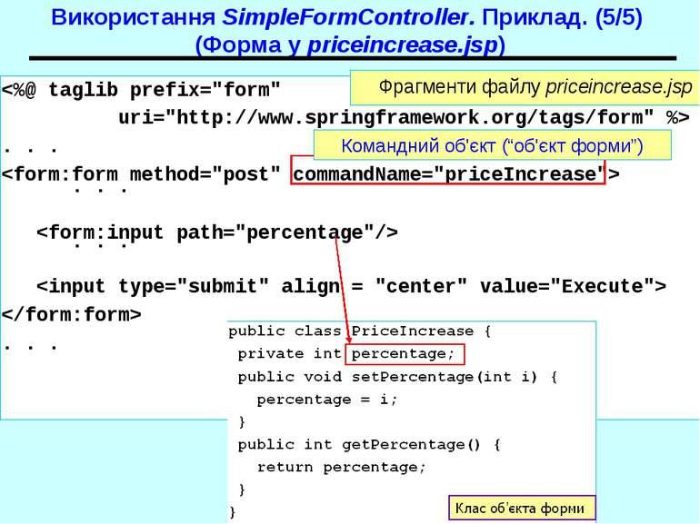 Використання SimpleFormController. Приклад. (5/5) (Форма у priceincrease.jsp)...