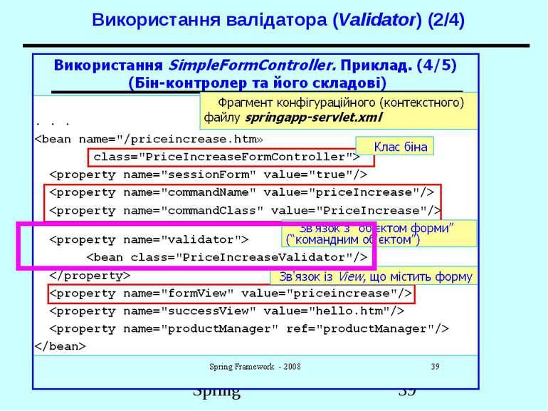 Використання валідатора (Validator) (2/4) Spring