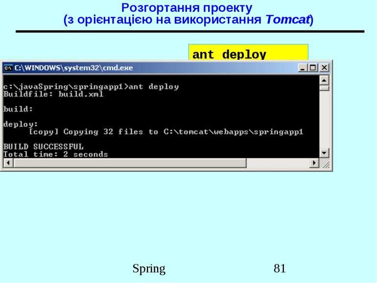 Розгортання проекту (з орієнтацією на використання Tomcat) ant deploy Spring