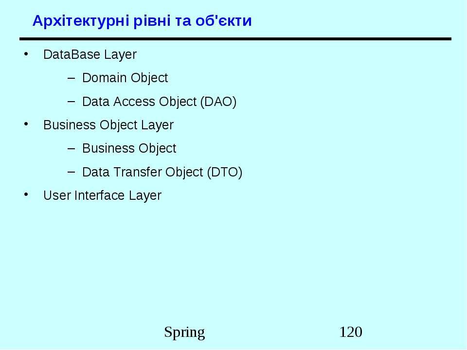 Архітектурні рівні та об'єкти DataBase Layer Domain Object Data Access Object...