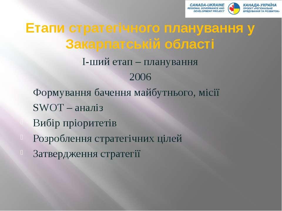 Етапи стратегічного планування у Закарпатській області І-ший етап – плануванн...