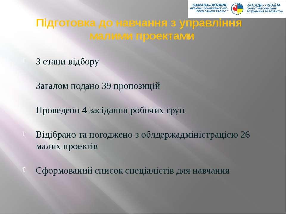 Підготовка до навчання з управління малими проектами 3 етапи відбору Загалом ...