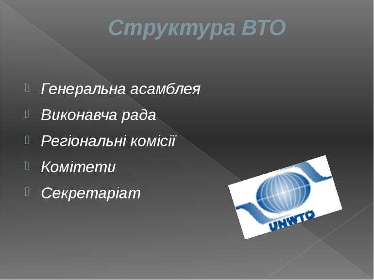 Структура ВТО Генеральна асамблея Виконавча рада Регіональні комісії Комітети...