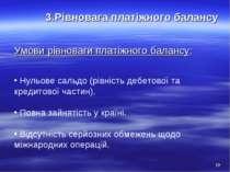 3.Рівновага платіжного балансу Умови рівноваги платіжного балансу: Нульове са...