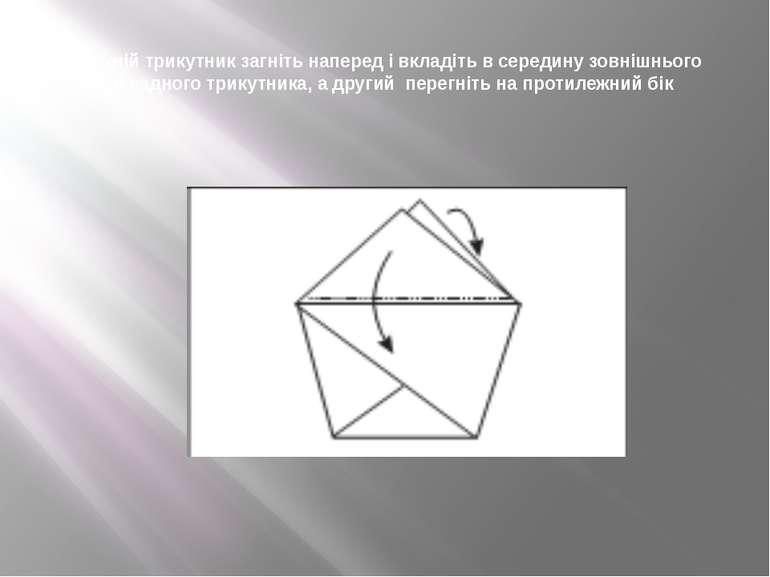 Верхній трикутник загніть наперед і вкладіть в середину зовнішнього накладног...