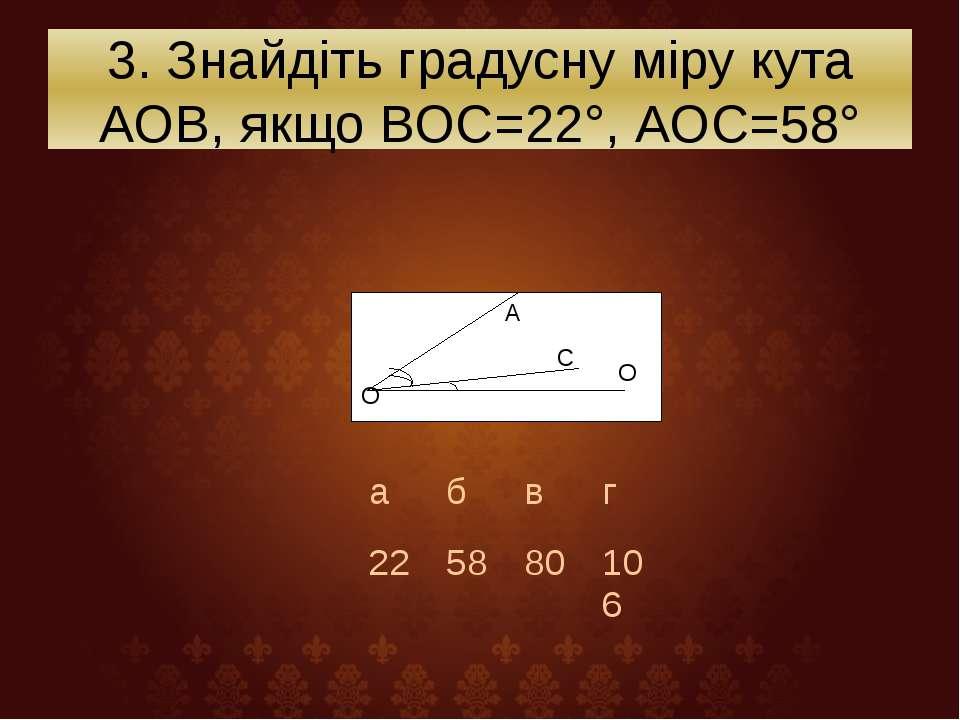 3. Знайдіть градусну міру кута АОВ, якщо ВОС=22°, АОС=58° О А С О а б в г 22 ...