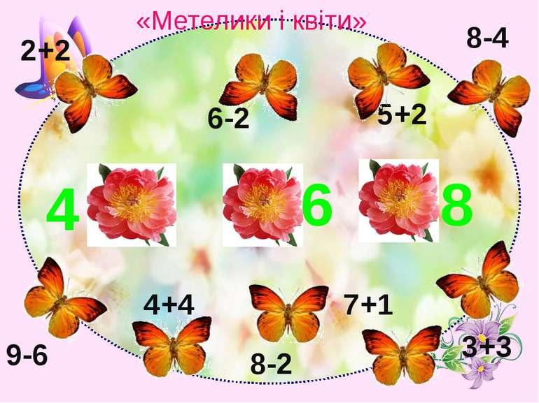 2+2 6-2 5+2 8-4 9-6 4+4 8-2 7+1 3+3 6 4 8 «Метелики і квіти»