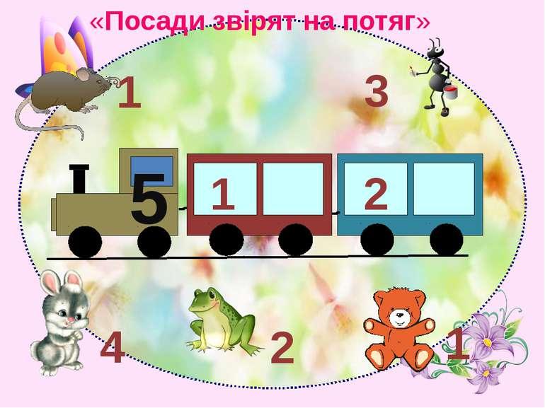 5 1 2 3 1 1 2 4 «Посади звірят на потяг»