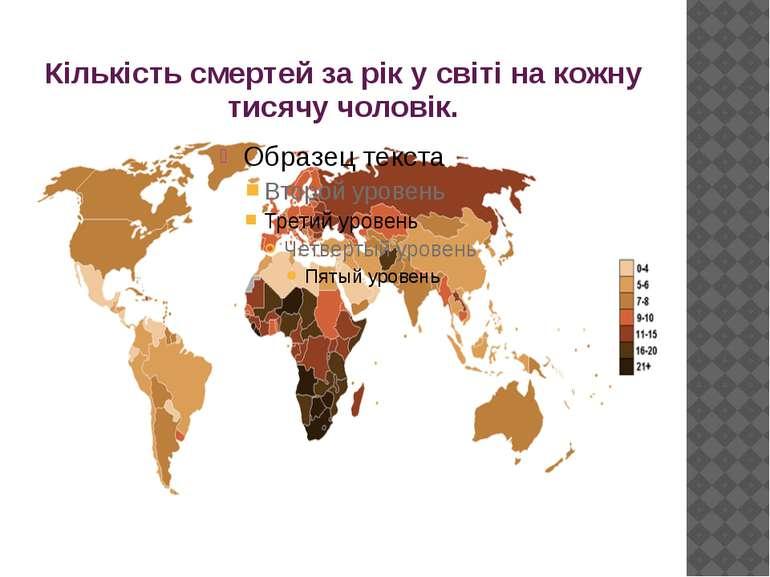 Кількість смертей за рік у світі на кожну тисячу чоловік.