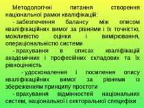 Методологічні питання створення національної рамки кваліфікацій: -забезпечен...