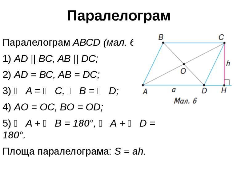 Паралелограм Паралелограм ABCD (мал. 6): 1) AD || BC, AB || DC; 2) AD = BC, A...