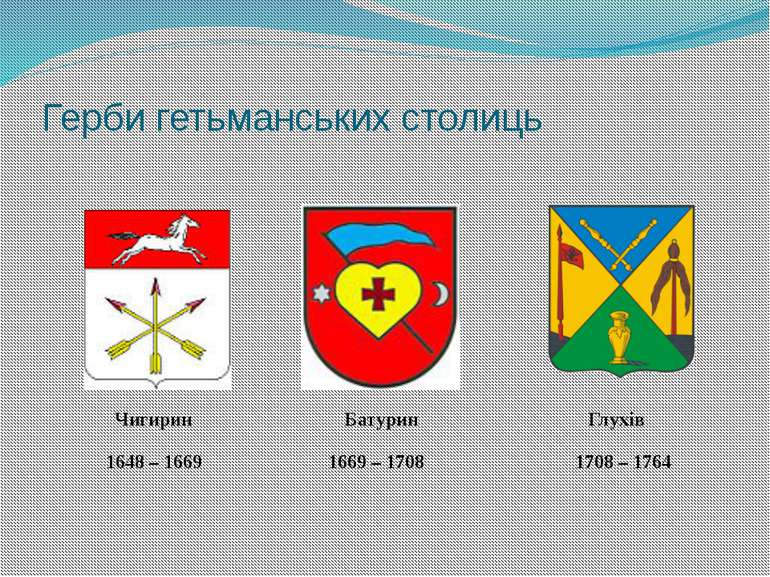 Герби гетьманських столиць Чигирин Батурин Глухів 1648 – 1669 1669 – 1708 170...