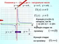 Показник р = – (2n-1), де n – натуральне число 1 0 х у у = х-3, у = х-5 , у =...