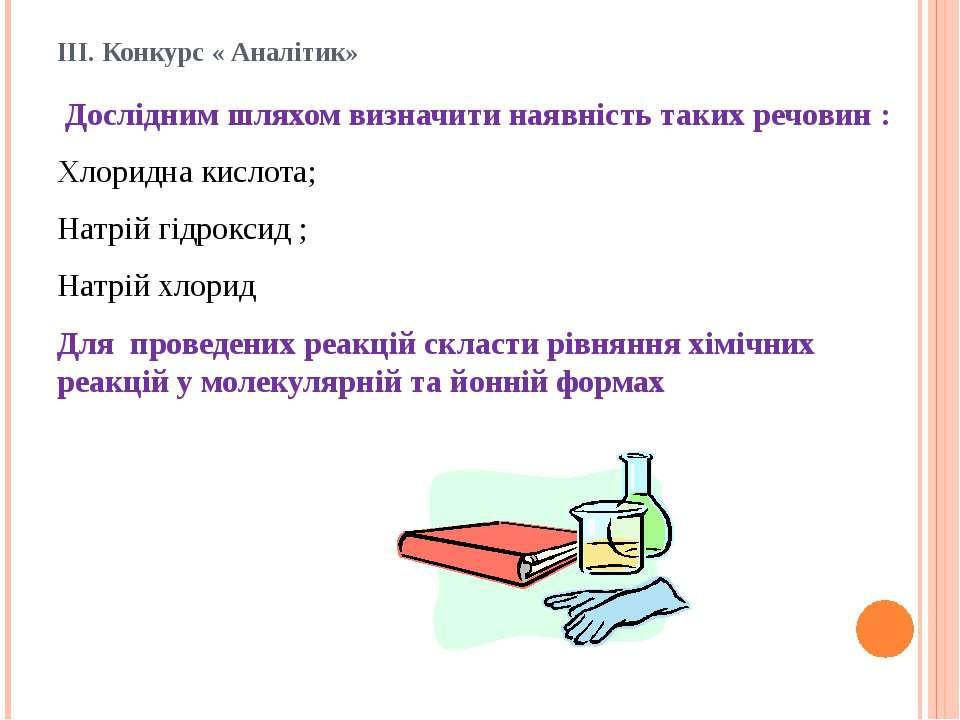 ІІІ. Конкурс « Аналітик» Дослідним шляхом визначити наявність таких речовин :...