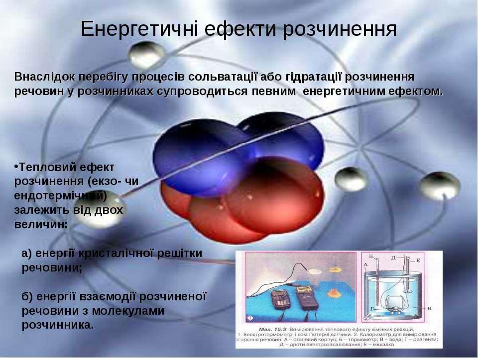 Енергетичні ефекти розчинення Внаслідок перебігу процесів сольватації або гід...