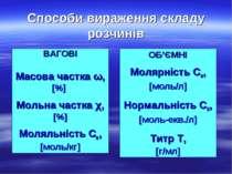 Способи вираження складу розчинів ВАГОВІ Масова частка ω, [%] Мольна частка χ...