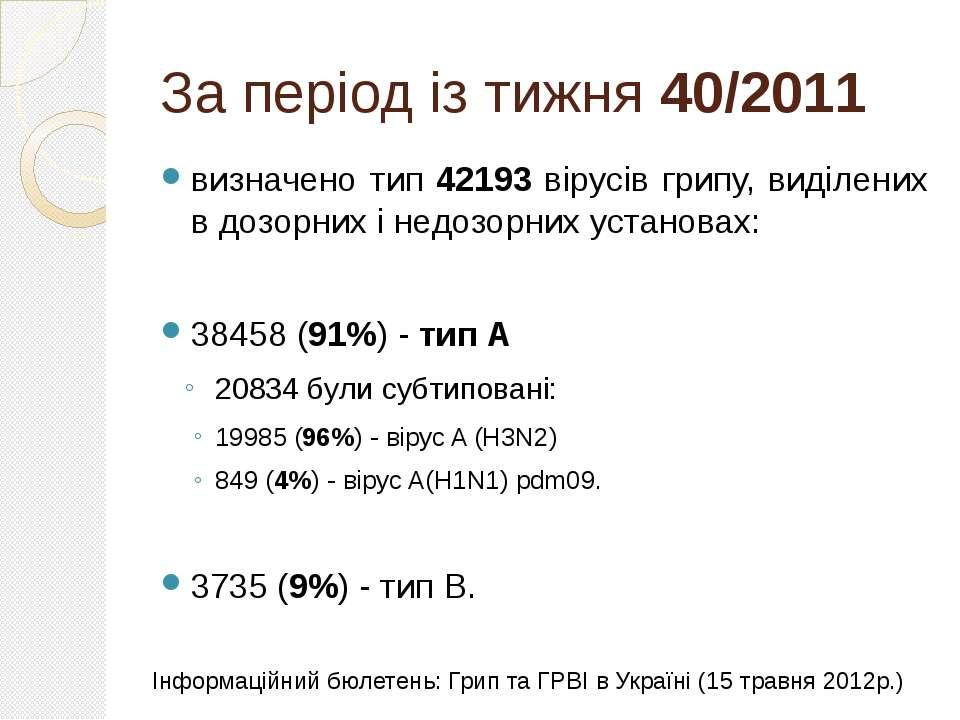 За період із тижня 40/2011 визначено тип 42193 вірусів грипу, виділених в доз...