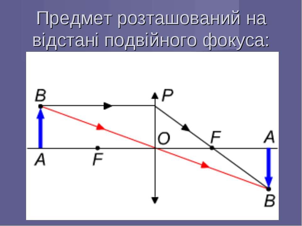 Предмет розташований на відстані подвійного фокуса: