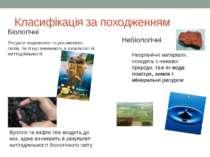 Класифікація за походженням Біологічні Ресурси тваринного та рослинного світі...