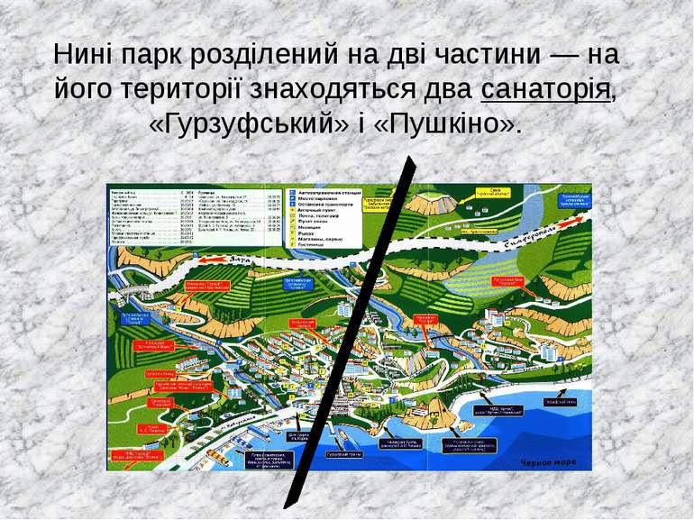 Нині парк розділений на дві частини— на його території знаходяться два санат...