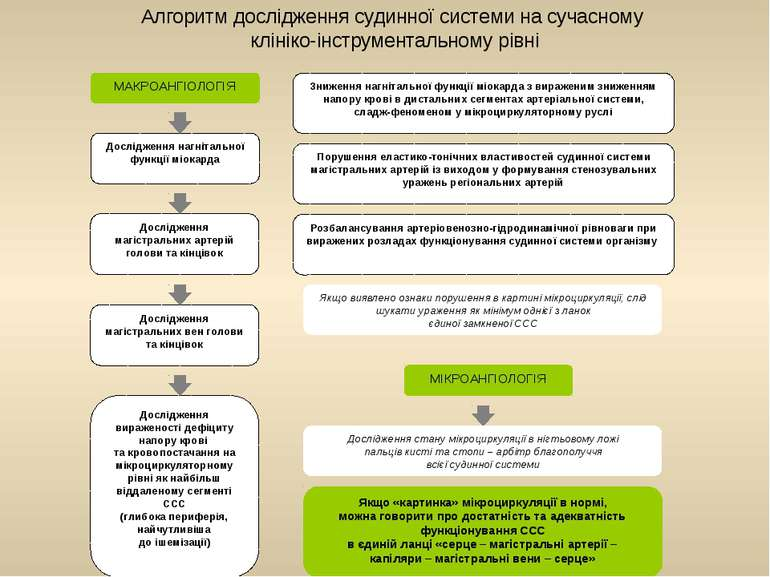 Алгоритм дослідження судинної системи на сучасному клініко-інструментальному ...