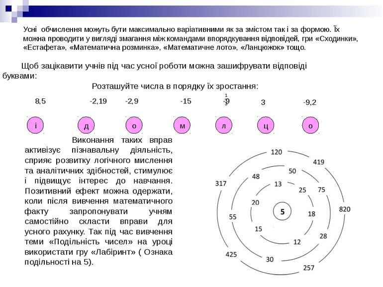 Усні обчислення можуть бути максимально варіативними як за змістом так і за ф...