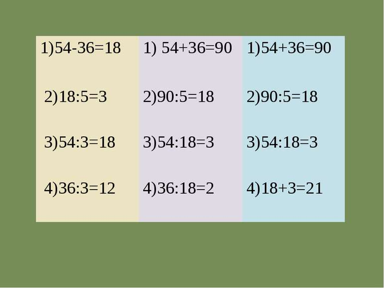 1)54-36=18 1) 54+36=90 1)54+36=90 2)18:5=3 2)90:5=18 2)90:5=18 3)54:3=18 3)54...