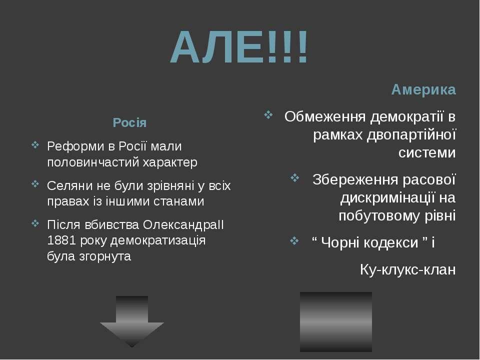 АЛЕ!!! Росія Реформи в Росії мали половинчастий характер Селяни не були зрівн...
