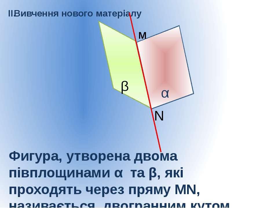 II. Вивчення нового матеріалу α β м N Фигура, утворена двома півплощинами α т...