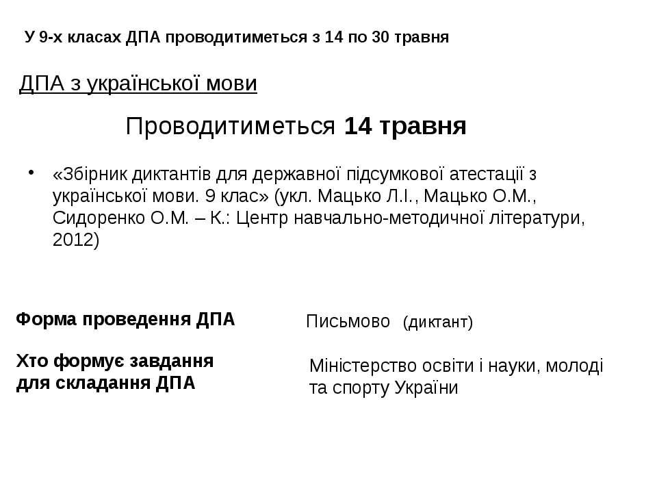 ДПА з української мови У 9-х класах ДПА проводитиметься з 14 по 30 травня Про...