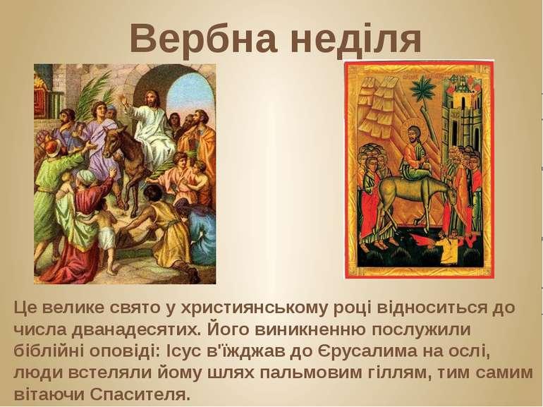 Вербна неділя Це велике свято у християнському році відноситься до числа дван...