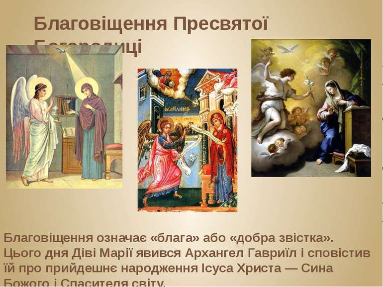 Благовіщення Пресвятої Богородиці Благовіщення означає «блага» або «добра зві...