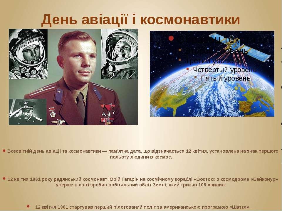День авіації і космонавтики Всесвітній день авіації та космонавтики — пам'ятн...