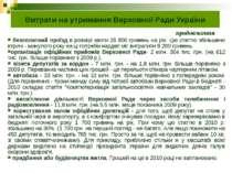 Витрати на утримання Верховної Ради України безоплатний проїзд в розмірі квот...