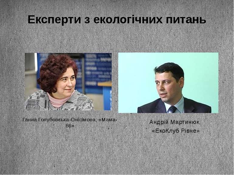 Експерти з екологічних питань Ганна Голубовська-Онісімова, «Мама-86» Андрій М...