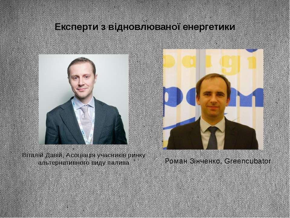 Експерти з відновлюваної енергетики Віталій Давій, Асоціація учасників ринку ...