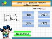 Спосіб додавання (алгоритм) Зрівняти модулі коефіцієнтів при будь-якій змінні...
