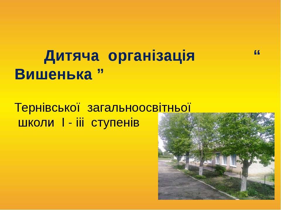 """Дитяча організація """" Вишенька """" Тернівської загальноосвітньої школи І - ііі с..."""