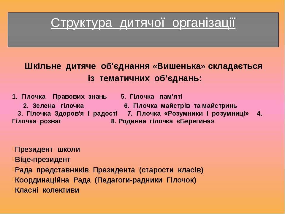 Структура дитячої організації Шкільне дитяче об'єднання «Вишенька» складаєтьс...