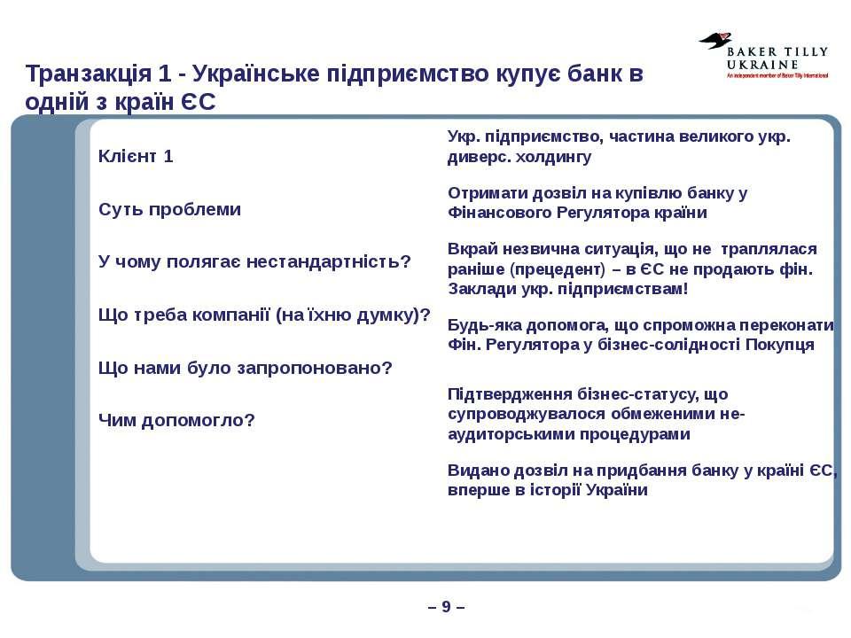 Транзакція 1 - Українське підприємство купує банк в одній з країн ЄС – 9 – Кл...