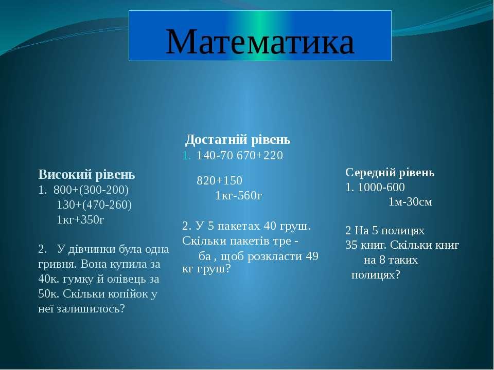 Математика Високий рівень 1. 800+(300-200) 130+(470-260) 1кг+350г 2. У дівчин...