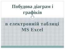 в електронній таблиці MS Excel Побудова діаграм і графіків