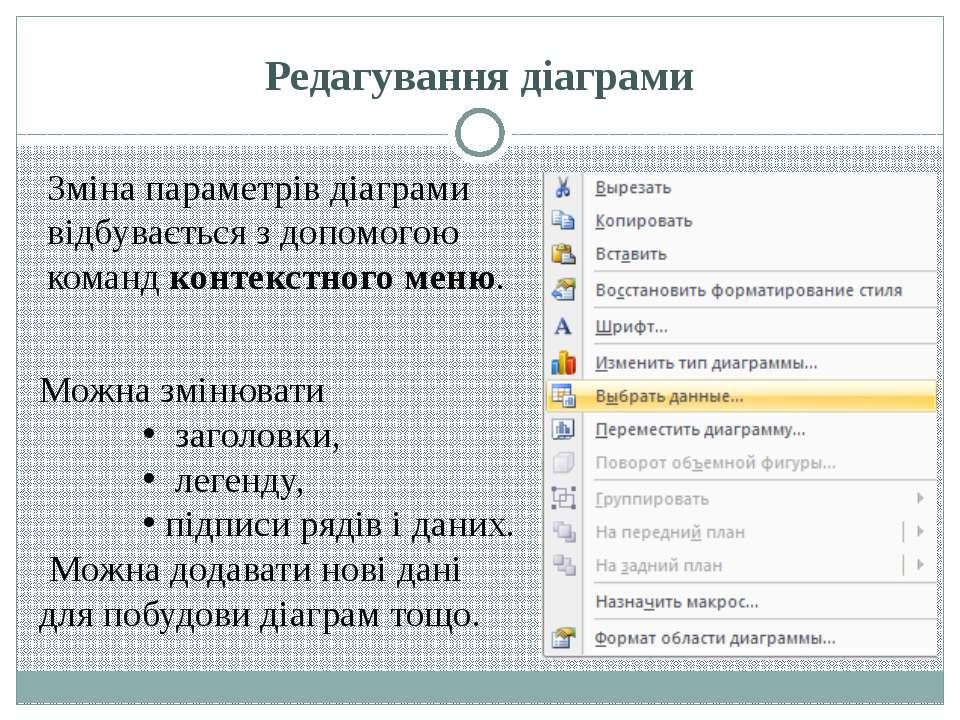 Редагування діаграми Зміна параметрів діаграми відбувається з допомогою коман...