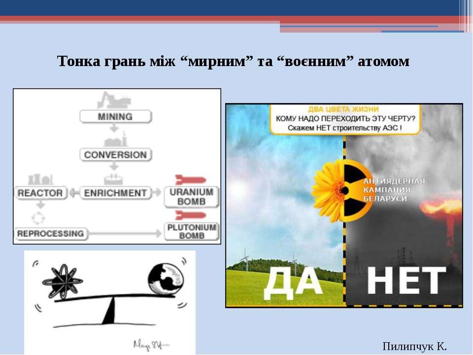 """Тонка грань між """"мирним"""" та """"воєнним"""" атомом Пилипчук К."""