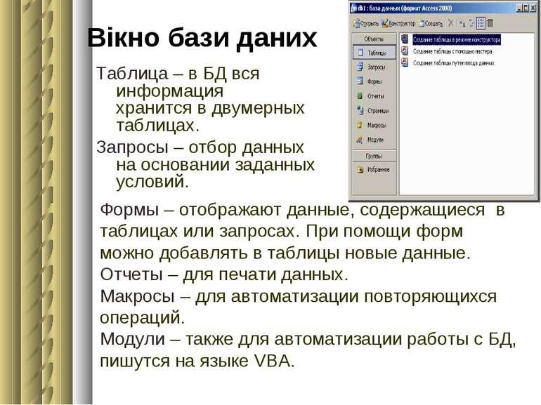 Вікно бази даних Таблица – в БД вся информация хранится в двумерных таблицах....